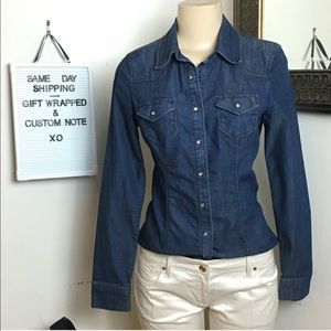 Guess fitted denim snap closure button down